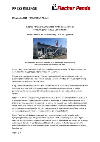 Fischer Panda UK Announces VIP Showcase Event Following BOATS2020 Cancellation