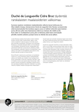 DUCHÉ DE LONGUEVILLE CIDRE BRUT TÄYDENTÄÄ RANSKALAISTEN MAALAISSIIDERIEN VALIKOIMAA ALKOSSA