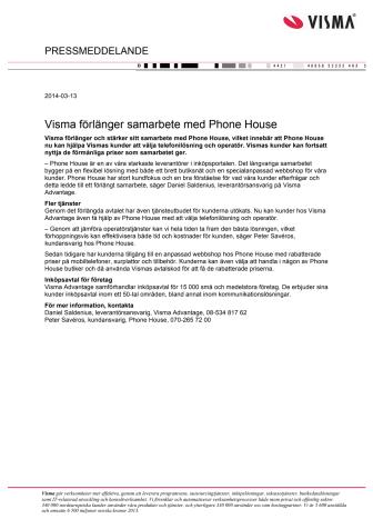 Visma förlänger samarbete med Phone House