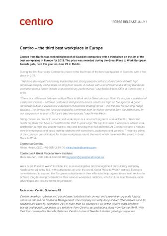 Centiro – the third best workplace in Europe