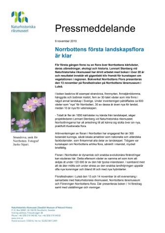 Norrbottens första landskapsflora är klar