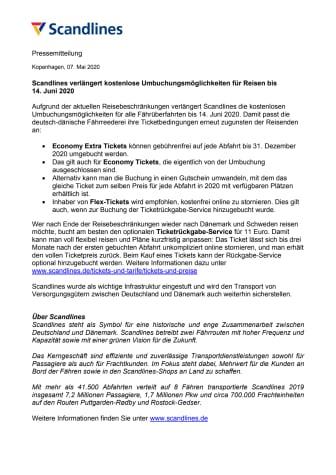 Scandlines verlängert kostenlose Umbuchungsmöglichkeiten für Reisen bis 14. Juni 2020