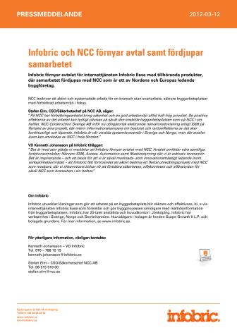Infobric och NCC förnyar avtal samt fördjupar samarbetet