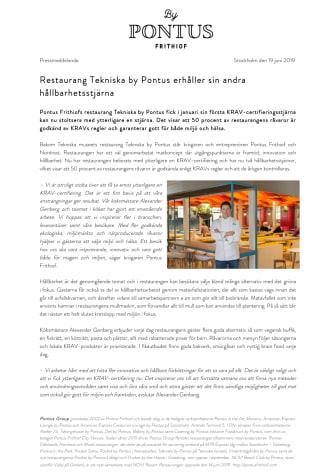 Restaurang Tekniska by Pontus erhåller sin andra hållbarhetsstjärna