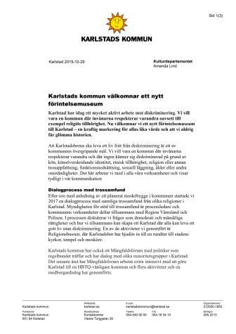 Skrivelse till kulturdepartementet om Förintelsemuseum