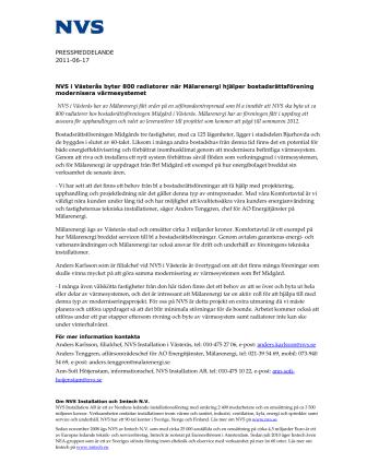 NVS i Västerås byter 800 radiatorer när Mälarenergi hjälper bostadsrättsförening modernisera värmesystemet