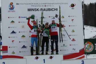 Vemund Ravnsborg Gurigard på pallen, normalprogram menn, Junior-VM Minsk