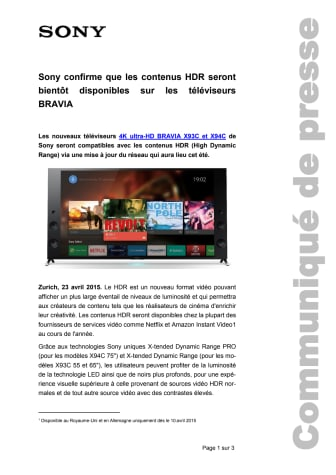 Communiqué de presse_HDR Bravia_150420_F-CH