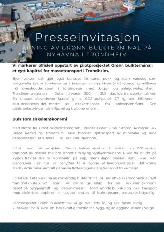 Presseinvitasjon: Åpning av grønn bulkterminal