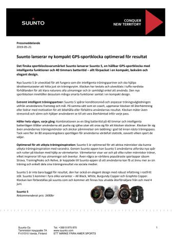 Suunto lanserar ny kompakt GPS-sportklocka optimerad för resultat