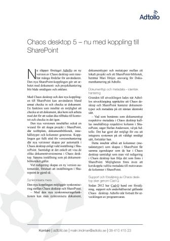 Chaos desktop 5 – nu med koppling till SharePoint
