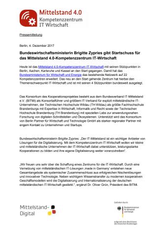 """""""Mittelstand-4.0-Kompetenzzentrum IT-Wirtschaft"""" geht an den Start"""