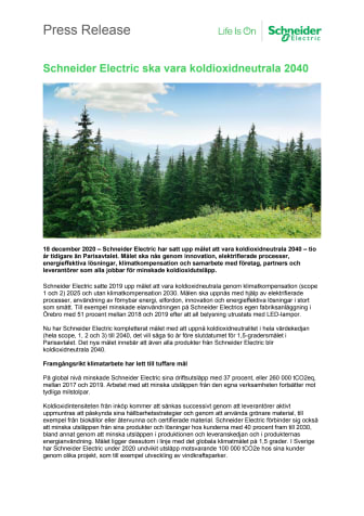 Schneider Electric ska vara koldioxidneutrala 2040