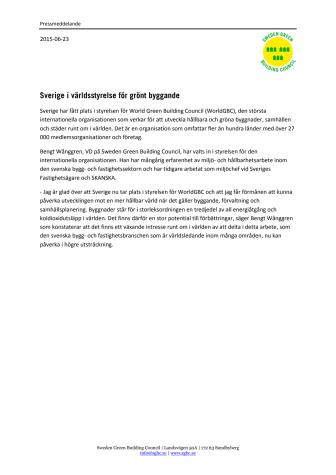 Sverige i världsstyrelse för grönt byggande
