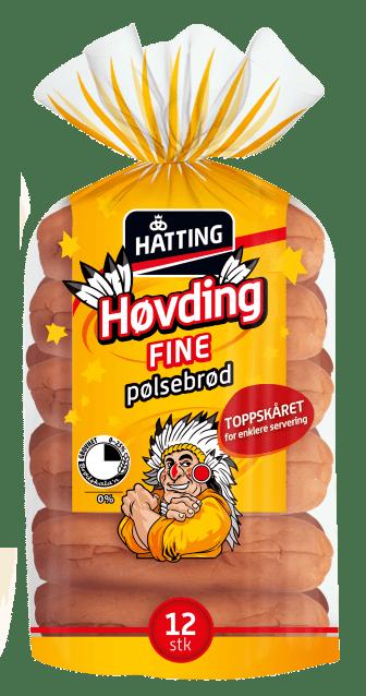 Hatting Høvding fine pølsebrød toppskåret