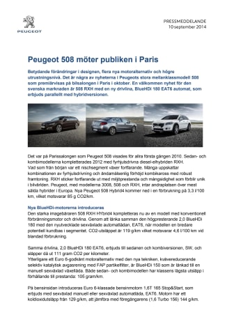Premiär för sportigt eleganta 508 på Parissalongen