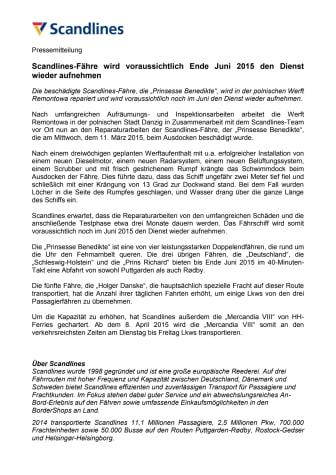 Scandlines-Fähre wird voraussichtlich Ende Juni 2015 den Dienst wieder aufnehmen