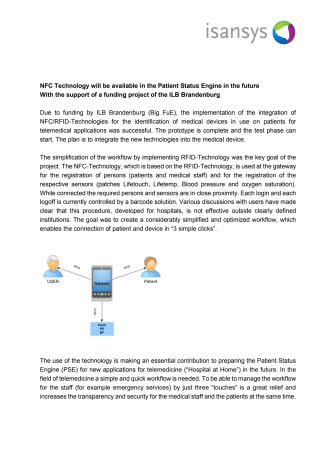 NFC Technology will be available in the Patient Status Engine in the future with the support of a funding project of the ILB Brandenburg