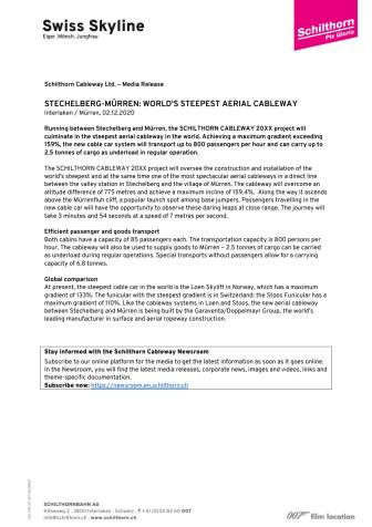 STECHELBERG - MÜRREN: WORLD'S STEEPEST AERIAL CABLEWAY