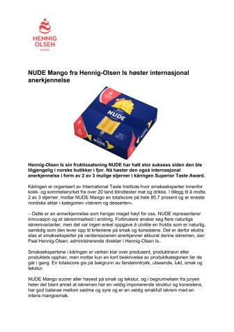 NUDE Mango høster internasjonal anerkjennelse