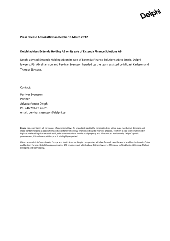 Delphi advises Extenda Holding AB on its sale of Extenda Finance Solutions AB