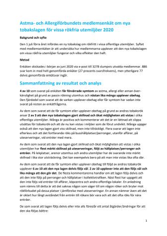 Sammanfattning av medlemsenkät om den nya tobakslagen