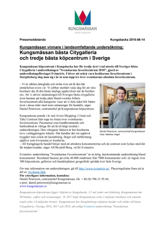 Kungsmässan vinnare i landsomfattande undersökning:  Kungsmässan bästa Citygalleria  och tredje bästa köpcentrum i Sverige
