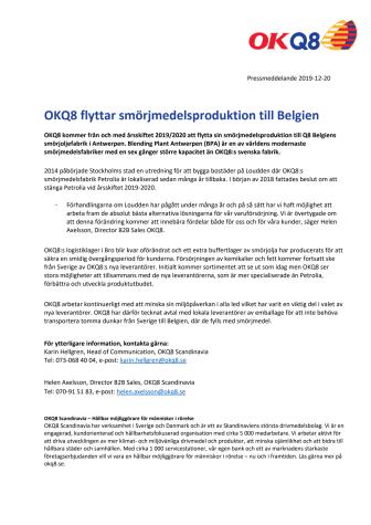 OKQ8 flyttar smörjmedelsproduktion till Belgien