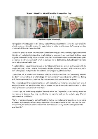 Sue Litterick - World Suicide Prevention Day