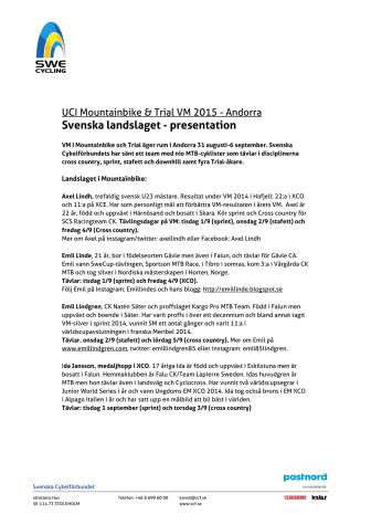 Landslagspresentation MTB och Trial - VM i Andorra 2015