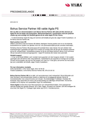 Bohus Service Partner AB valde Agda PS