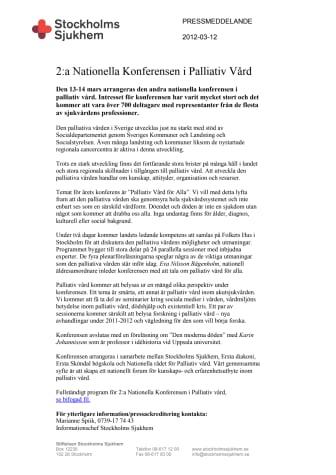 2:a Nationella Konferensen i Palliativ Vård