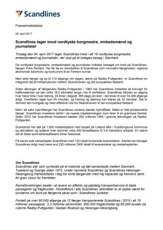 Scandlines tager imod nordtyske borgmestre, embedsmænd og journalister