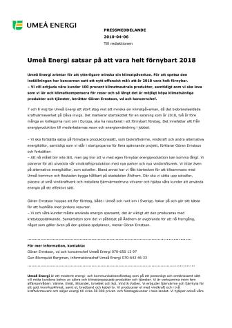 Umeå Energi satsar på att vara helt förnybart 2018