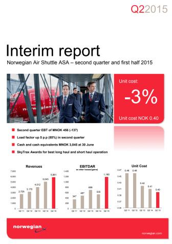 Informe de gestión - segundo trimestre de 2015 - Norwegian Air Shuttle ASA