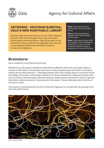 Art Deichman Bjørvika: Fact sheet about the art