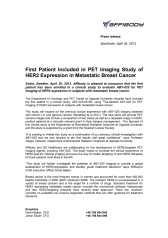 First Patient Included in PET Imaging Study of HER2 Expression in Metastatic Breast Cancer