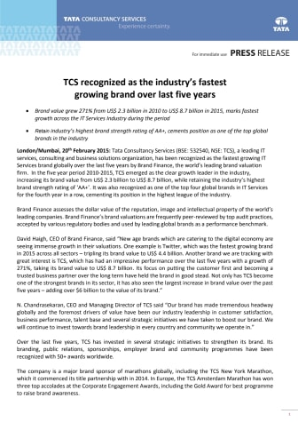TCS er bransjens raskest voksende merkevare de siste fem år
