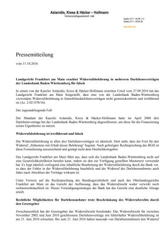 Landgericht Frankfurt am Main erachtet Widerrufsbelehrung in mehreren Darlehensverträgen der Landesbank Baden-Württemberg für falsch