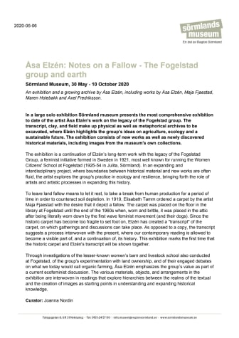 Åsa Elzén: Notes on a Fallow - The Fogelstad group and earth (English version)