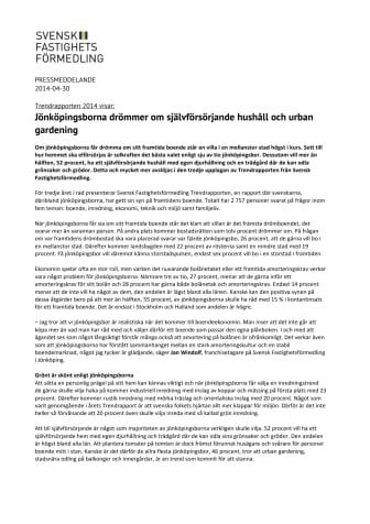 Trendrapporten 2014: Jönköpingsborna drömmer om självförsörjande hushåll och urban gardening