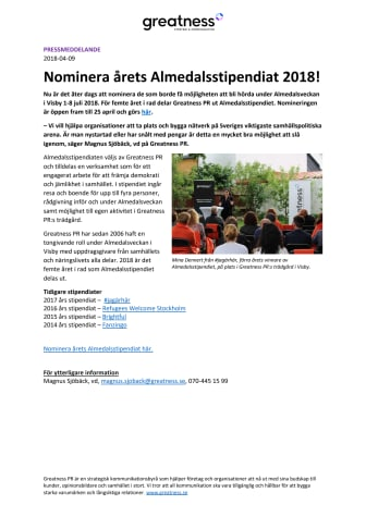 Nominera årets Almedalsstipendiat 2018!