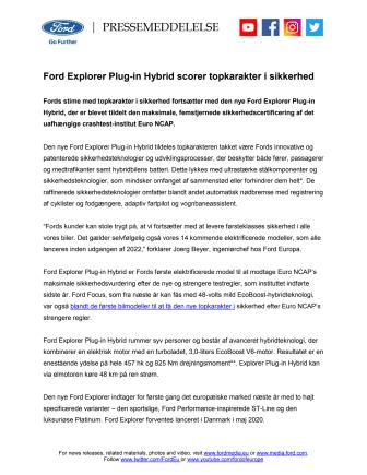 Ford Explorer Plug-in Hybrid scorer topkarakter i sikkerhed