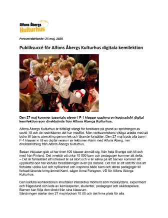 Publiksuccé för Alfons Åbergs Kulturhus digitala kemilektion