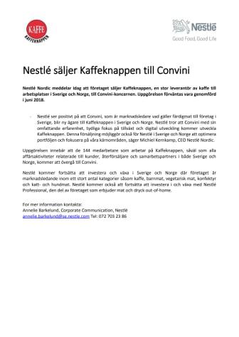 Nestlé säljer Kaffeknappen till Convini