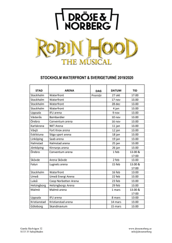 Turnéplan - Robin Hood The Musical 2019/2020