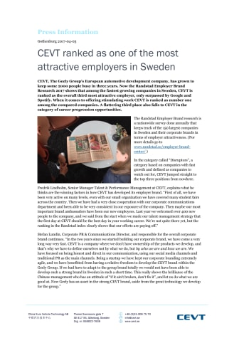 CEVT ranked as one of the most attractive employers in Sweden