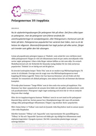 Pelargonernas 10 i topplista