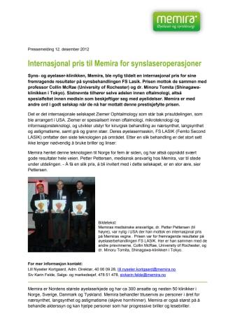 Internasjonal pris til Memira for synslaseroperasjoner