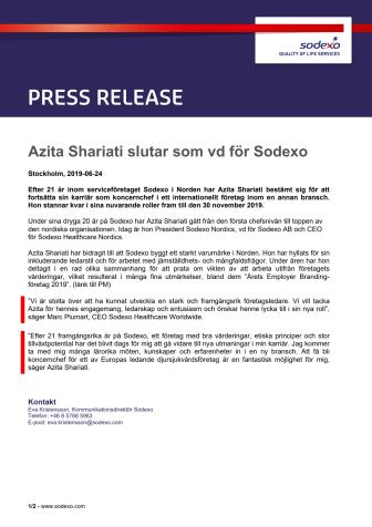 Azita Shariati slutar som vd för Sodexo